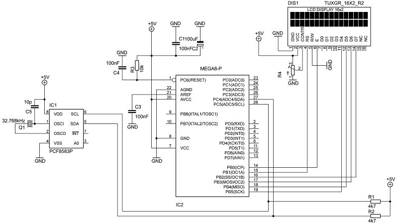 Схема часов на pcf8583p